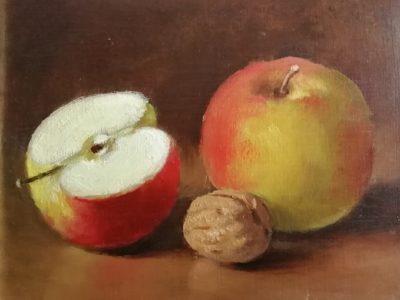 J. Kadeřábek obraz Zátiší s jablky a ořechem