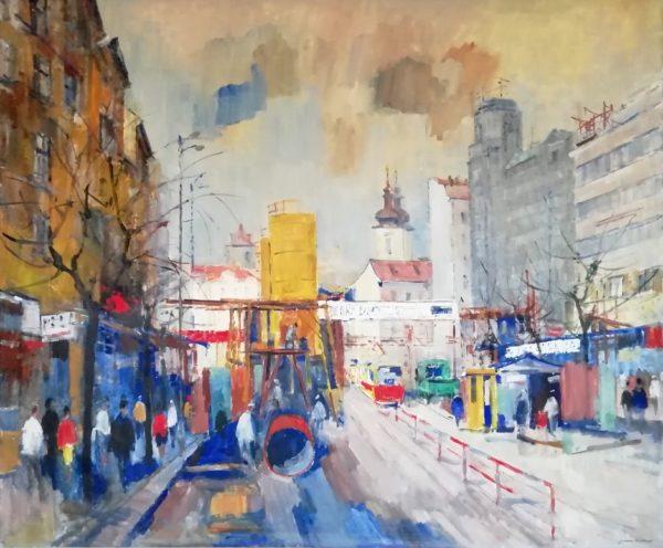 J. Kotas obraz Stavba metra Na Můstku