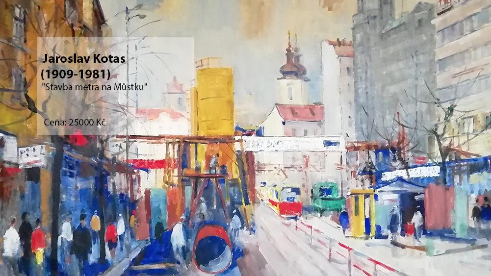 Jaroslav Kotas - obraz Stavba metra Na Můstku