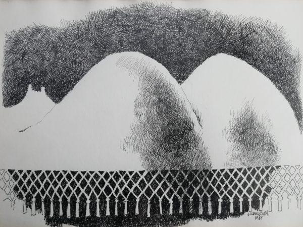 V. Komárek Trosky kresba tuší