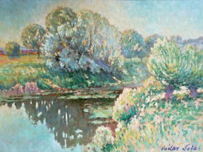 V. Šafář obraz Stromy nad hladinou