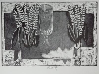 V. Komárek Pohár a konvalinky dřevoryt