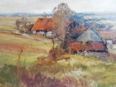 J. Vondráček obraz Krajina s chalupami