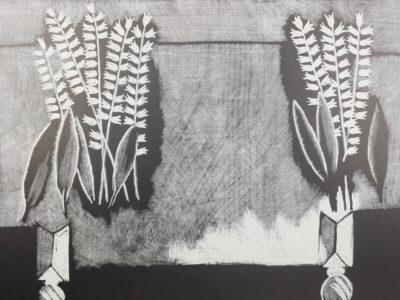 V. Komárek Konvalinky na stole dřevoryt