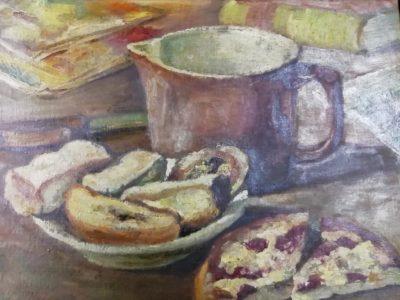 Neznámý autor obraz Zátiší s koláčem a buchtami