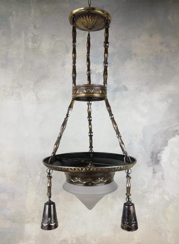 Tříramenný čtyřbodový lustr - patinovaná mosaz